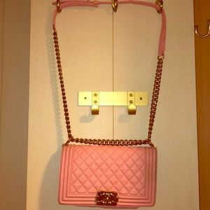 """Chanel pink quilted """"boy bag"""""""